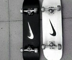 nike, black, and skateboard image