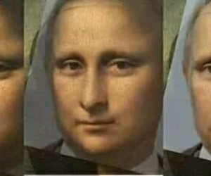 art, putin, and mona lisa image