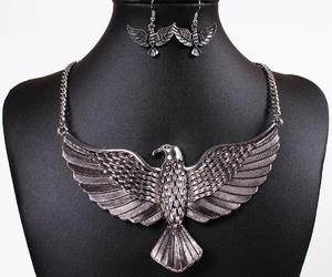 eagle, earrings, and necklace image