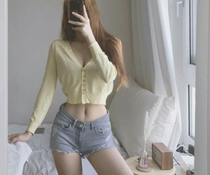 slim, ulzzang, and cute outfit image