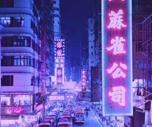 purple, neon, and city image