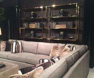 bookshelf, chrome, and gold image