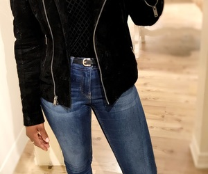 jeans and suede jacket image