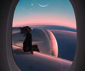 sky, moon, and plane image