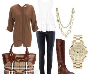 outfit, bag, and watch image