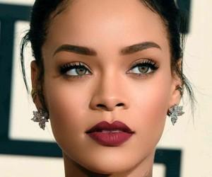 makeup, rihanna, and wine lipstick image