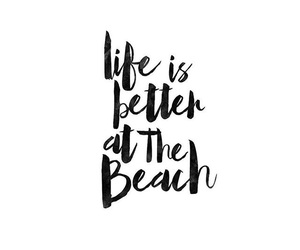 beach, black and white, and quote image