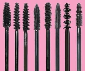 mascara, pink, and makeup image