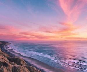 beach, sky, and ocean image