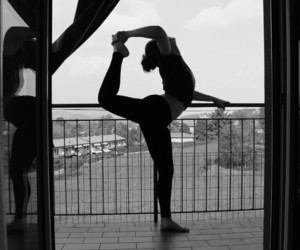 black&white, flexible, and girl image