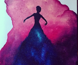 ballerina, painting, and universe image