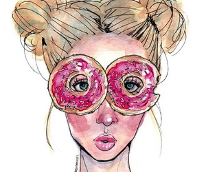 art, food porn, and donuts image