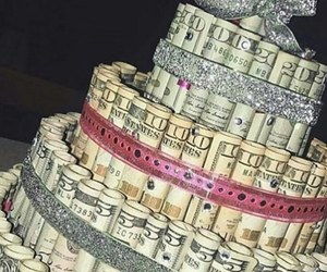 money, cake, and birthday image