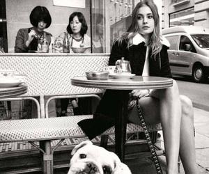 girl, dog, and black and white image