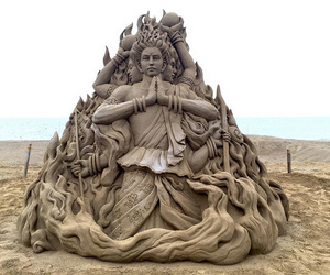 sand, sculpture, and sea image