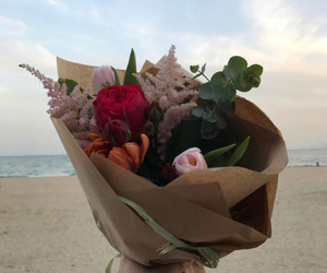 beach, roses, and boy image