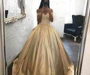 dress, gold, and princess image