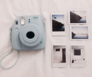 beach, blue, and instax image