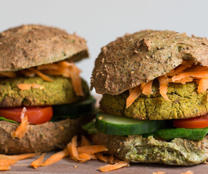 burger, vegan, and spinach image