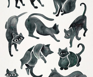 art, black and white, and black cats image