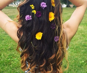 flowers, hair, and hippie image