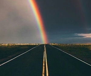 rainbow, sky, and road image