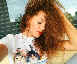 cats, girls, and hairs image
