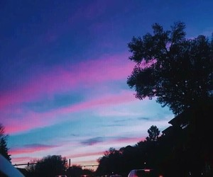 sky, blue, and sunset image