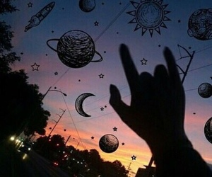 sky, planet, and grunge image