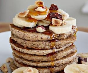 pancakes, banana, and recipe image