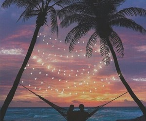 sunset, couple, and summer image