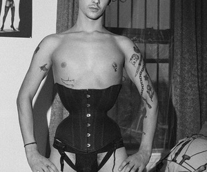 black and white, lingerie, and corset image