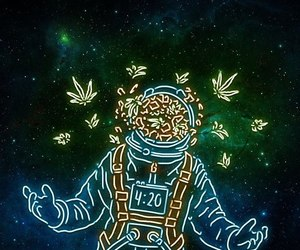 astronaut, neon, and blue image
