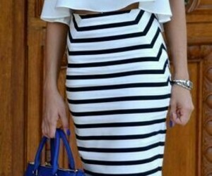 fashion, pencil skirt, and stripes image