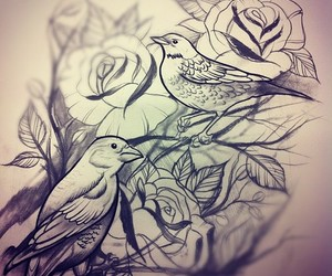 bird, art, and rose image