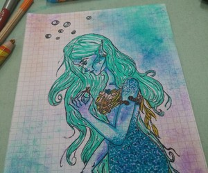 blue, draws, and mermaid image