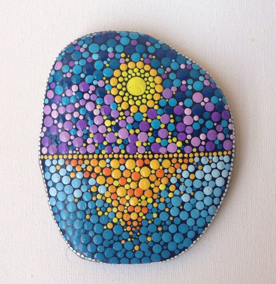 Big Dot Art Sunset Stone Painted Stone Painted Rock Fairy