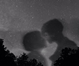 night, black and white, and couple image