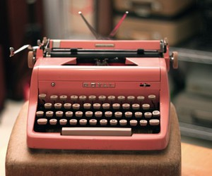 pink, vintage, and typewriter image