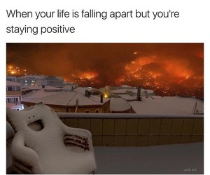 everything is fine, funny memes, and happy chair image
