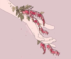 flowers, hand, and pink image