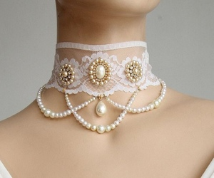 choker, jewelry, and pearl necklace image