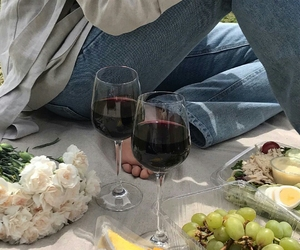 food, wine, and picnic image