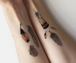 boho, feather, and temporary tattoo image