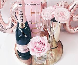 pink, champagne, and flowers image