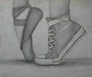 ballet, drawing, and converse image