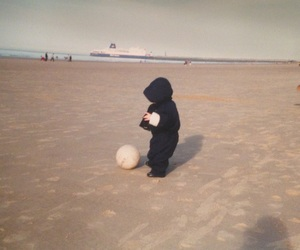 baby, football, and beach image