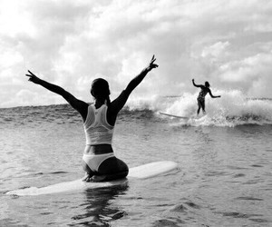 black and white, summer, and surfing image