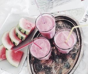 smoothie, watermelon, and yummy image