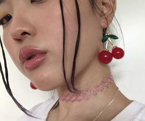 asian, pretty, and cherries image